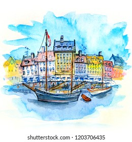 Watercolor sketch of Nyhavn with colorful facades of old houses and old ships in the Old Town of Copenhagen, capital of Denmark.