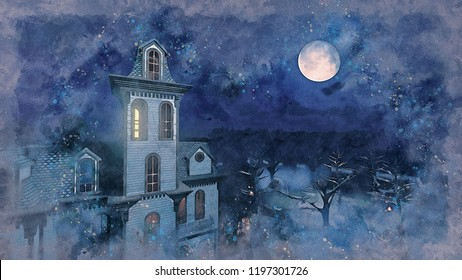 Watercolor sketch of old scary mansion surrounded by creepy trees at dark misty night with fantastic big full moon in the sky. Grunge style digital illustration from my own 3D rendering file.