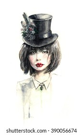 Watercolor sketch painting of a girl in hat. Vintage portrait on white background