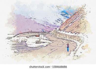 Watercolor sketch picture landscape view beautiful road  at passo dello stelvio Italy.