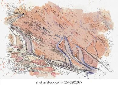 Watercolor sketch picture road of passo dello stelvio Italy.