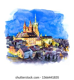 Watercolor sketch of Prague Castle, Hradcany and Little Quarter in old town at night of Prague, Czech Republic