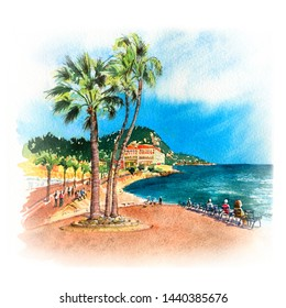Watercolor sketch of Promenade des Anglais in the sunny summer day with blue sky, Nice, French Riviera, Cote d'Azur, France