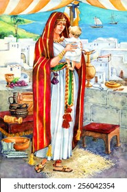 "Watercolor sketch of series ""Characters of Palestine"". Jewry historic bible figure young rich lady in red cape, patterned belt with purse, ornate sandals with little son on roof of house under tent"