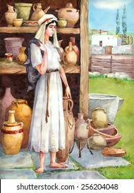 "Watercolor sketch of series ""Characters of Palestine"". Jewry historic figure dressed in sackcloth female. Sad tired young maidservant with wineskin in storage pitchers with pots on shelves"