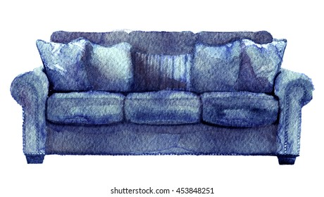 watercolor sketch of sofa on a white background