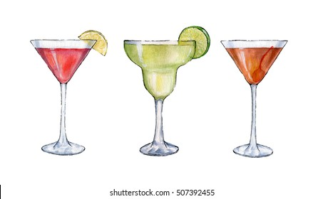 Watercolor sketch style cocktails illustration