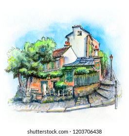 Watercolor sketch of Typical parisain street with old houses on Montmartre hill in Paris, France.