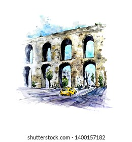 Watercolor sketch of Valens Aqueduct, Istanbul, Turkey. Hand painted stylish picture on white. Perfect for print, card making and travel design.