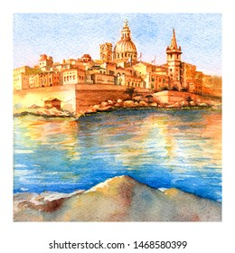 Watercolor sketch of Valletta with church of Our Lady of Mount Carmel and St. Paul's Anglican Pro-Cathedral at sunrise, Valletta, Capital city of Malta
