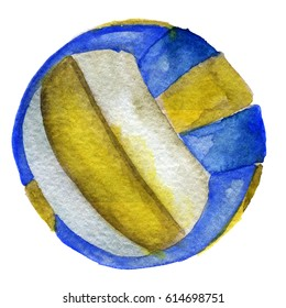 watercolor sketch of volleyball ball isolated on white background