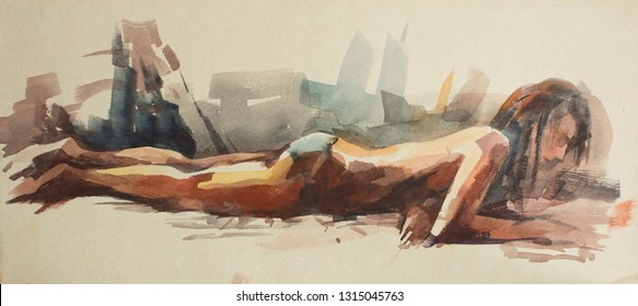 Watercolor sketches from the nudist beach. Naked girls sunbathe on the sand by the sea. Drawing paint on paper.