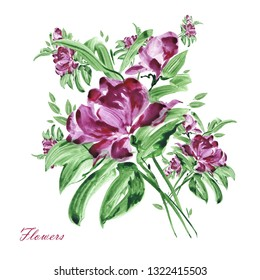 Watercolor sketching stylish bouquet. Beautiful hand drawn illustration for your design and greeting cards for the holiday.