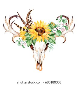 Watercolor  skull head with horns,sunflowers,leaves,branches,fern leaves,feathers. Watercolor boho illustration.Perfect for wedding,invitation,template card,wallpapers,patterns and boho style