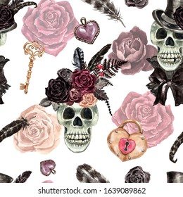 Watercolor skull of men and women seamless pattern. Victorian gothic style repeat print. Dead skeleton illustration, vintage key, roses on white background. For Valentines day,Halloween