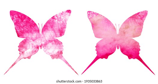 Watercolor sky butterfly on white