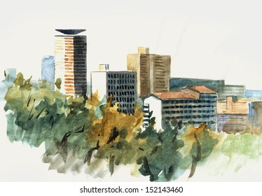 Watercolor of skyline of Nairobi skyscrapers, Kenya