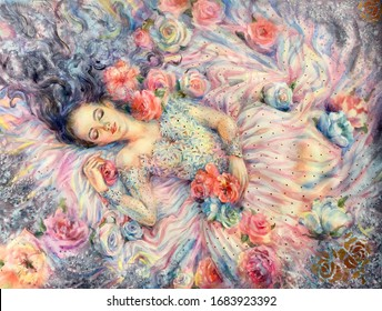 Watercolor sleep. Young woman sleeping in flowers. Girl with wavy hair,  make up and flowers background, Female concept. Horizontal view, copy-space. Template for designs, card, posters, wallpaper.