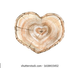Watercolor slice of a tree in the form of a heart.