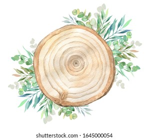 Watercolor slice of wood with floral decorations. Floral decor.