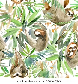 Watercolor sloth illustration. tropical plant seamless pattern.