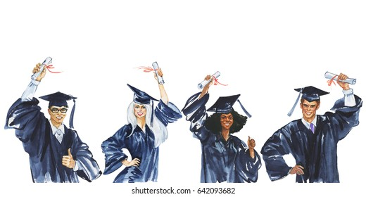 Watercolor smiling graduate students. Hand drawn european, asian, african people in a graduation cap and mantle with a university diploma. Painting illustration of celebrating the graduation ceremony