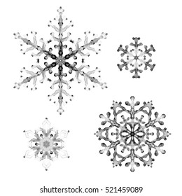 Watercolor snowflakes. Hand-painted ink illustration