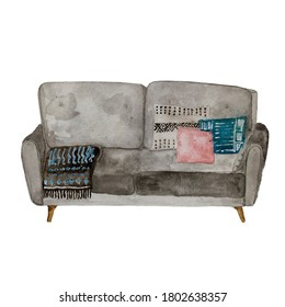 Watercolor sofa furniture, couch with cushions isolated on a white background.