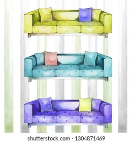 Watercolor sofa. Three colored sofas with pillows on a striped background. Yellow sofa. Blue sofa, Purple sofa. Spotted sofas. Interior sketch.