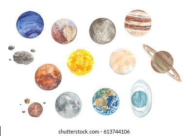 Watercolor Solar System planets