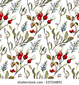 Watercolor Sophisticated Seamless Pattern Made of Hawthorn, Mistletoe and Cypress Isolated on White. Botanical Floral Decoration Texture. Vintage Style Design for Fabric Print, Wallpaper Background.