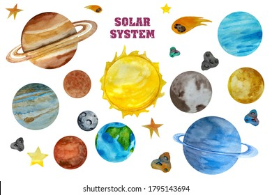 Watercolor Space Clipart, Solar System  Planets, Space Earth Moon Jupiter Pluto. Watercolor set of Universe.