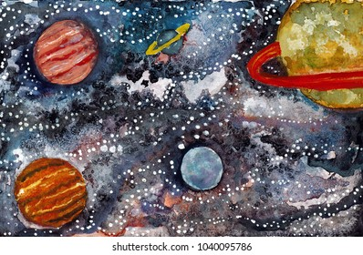 Watercolor Space Planets and Stars