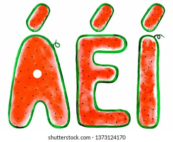 Watercolor Spanish vowels with an accent: A, E and I. Isolated on white background. Illustration. Summer tasty font from slice of watermelon.