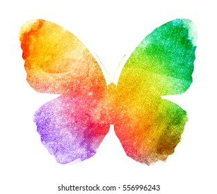 Watercolor sparkle butterfly , isolated on white