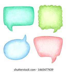 Watercolor speech bubbles. Colored clouds for text.