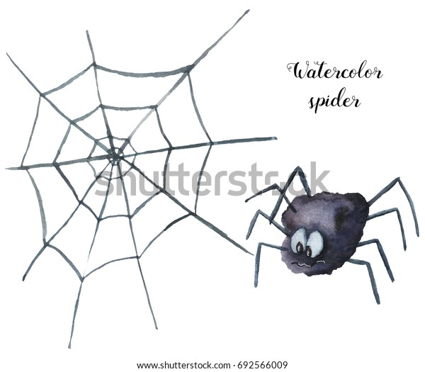 Watercolor spider. Hand painted Halloween illustration isolated on white background. Magic character with web  for design, print or background