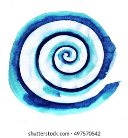 Watercolor spiral brush stroke. Water wave element . Swirl . Round Shape. Blue snail illustration.