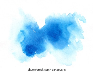 Watercolor splash, isolation on white blue hand drawn abstract cloud