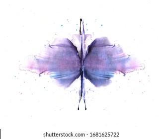Watercolor splash on white background. Illustration handmade for decoration.