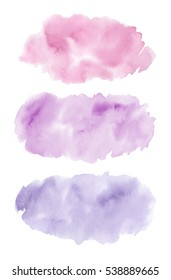 Watercolor splash stains elements for design. Rose, violet and lavender colors