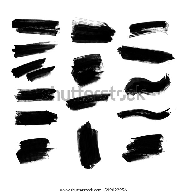 Watercolor splashes. Set of watercolor stains. Paint spots. The black. Illustration