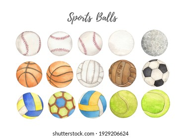 Watercolor Sports balls Hand drawn colorful clipartisolated
