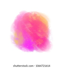 Watercolor spot. Colored aquarelle blotch on isolated background. Backdrop for design. Greeting card. Art creation. Doodle for inscriptions. Watercolour splotch. Bright blur stain. Abstract background