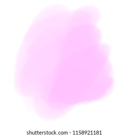 Watercolor spot on white. Colored aquarelle blotch on isolated background. Backdrop for design. Art creation. Doodle for inscriptions. Watercolour splotch. Light blur stain. Cute texture