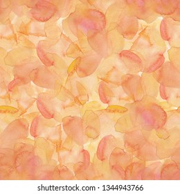 Watercolor spots backgound. Illustration of pink, yellow and orange waterolor spots. Fullsize waterolor atrwork. Brush painted waterolor.