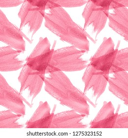 Ñolorful Watercolor Spots seamless pattern. Creative Abstract Aquarelle art hand paint on white Background. Pink Color Drops, blots and Spray for your design.