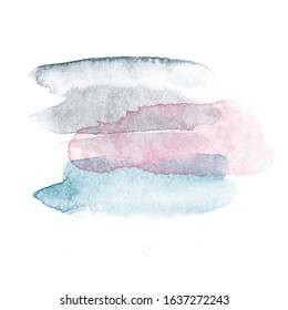 Watercolor spots for your design. Abstract logo. Brush spray pink, blue, grey color