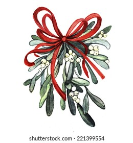 Watercolor sprig of mistletoe.Christmas decor. Ideal for design Christmas gifts and scrapbooking. Illustration for greeting cards, invitations, and other printing projects.