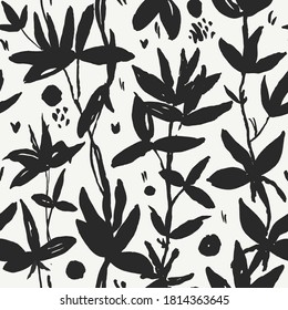 Watercolor sprigs of herbs, leaves. Seamless pattern. Black leaves on a white background. Natural, botanical, delicate, feminine pattern. For printing and design on fabric, clothing, paper, objects.